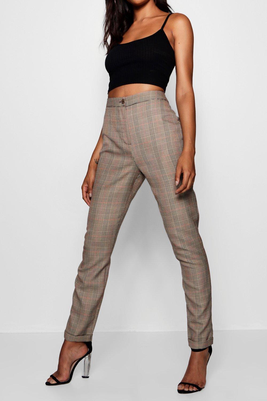 tejidos marrón Tall ajustados cuadros Pantalones a 5wapqwg