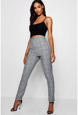 Womens Grey Tall Checked Woven Tailored Trousers