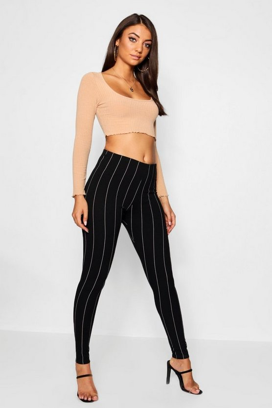 Womens Black Tall Pinstripe Skinny Trousers