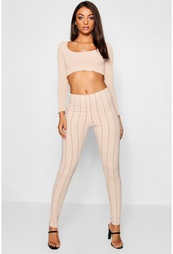 Womens Nude Tall Pinstripe Skinny Trousers