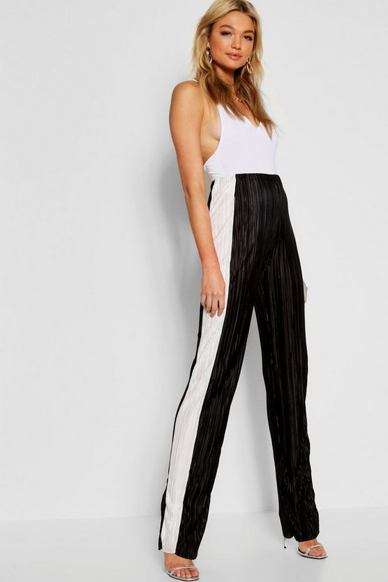Tall Contrast Stripe Pleated Trousers