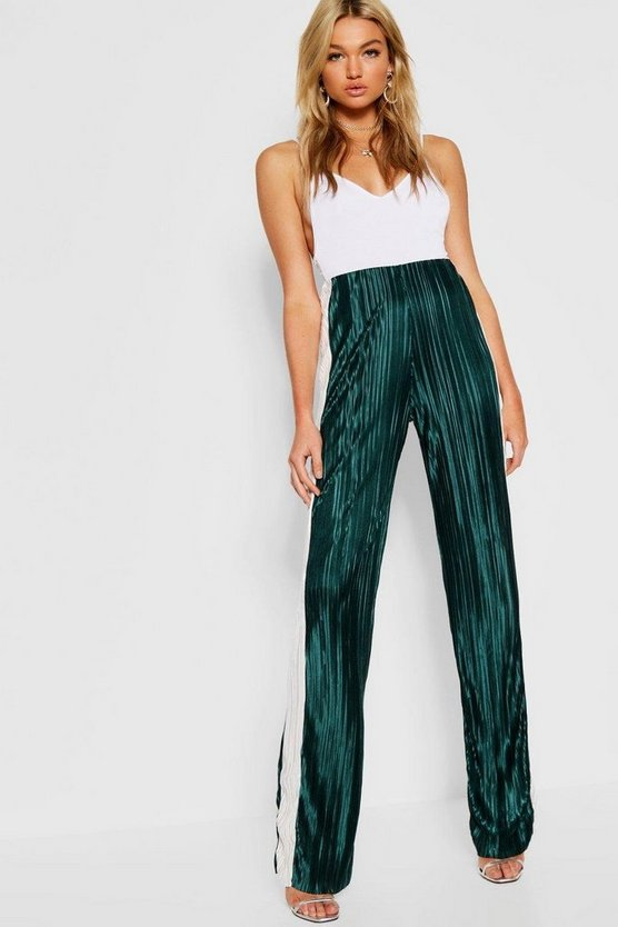 Womens Green Tall Contrast Stripe Pleated Trousers