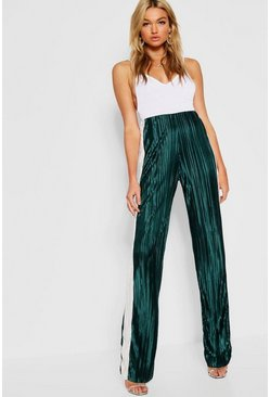 Womens Green Tall Contrast Stripe Pleated Pants