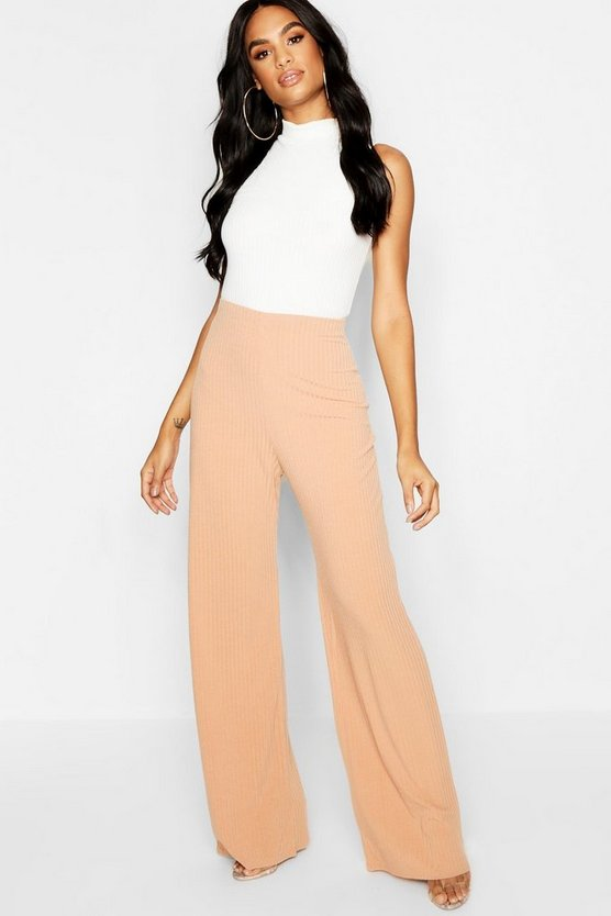 Tall Rib Knit Wide Leg Pants