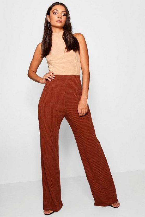 Womens Caramel Tall Rib Knit Wide Leg Pants