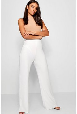 Womens White Tall Rib Knit Wide Leg Trousers