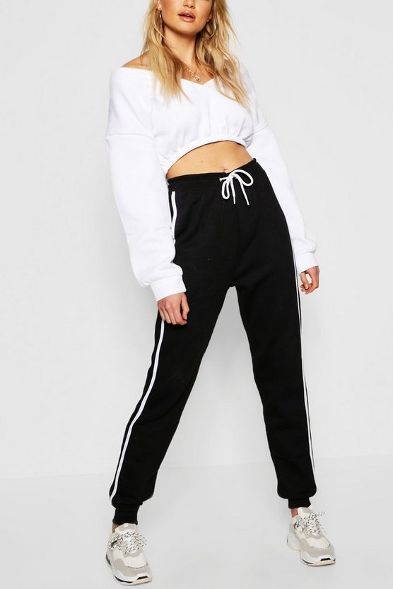 Black Tall Contrast Side Panel Sweat Joggers