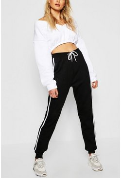 Womens Black Tall Contrast Side Panel Sweat Joggers