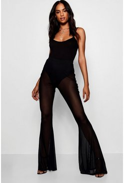 Womens Black Tall Sheer Mesh Flares