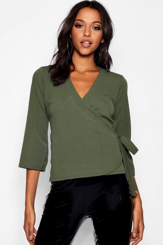 Womens Khaki Tall Tie Side Wrap Blouse