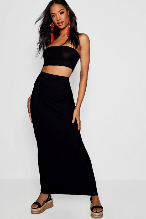 Womens Black Tall Basic Jersey Maxi Skirt