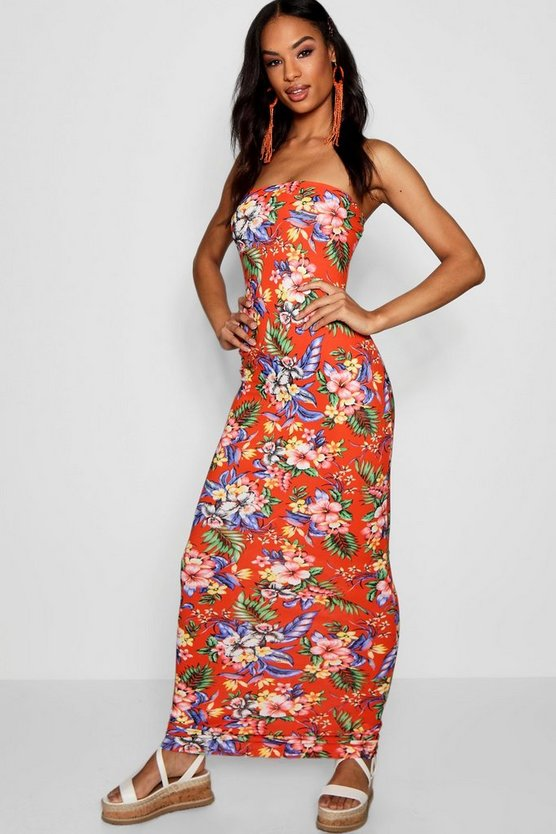 Womens Coral Tall Tropical Print Bandeau Jersey Maxi Dress