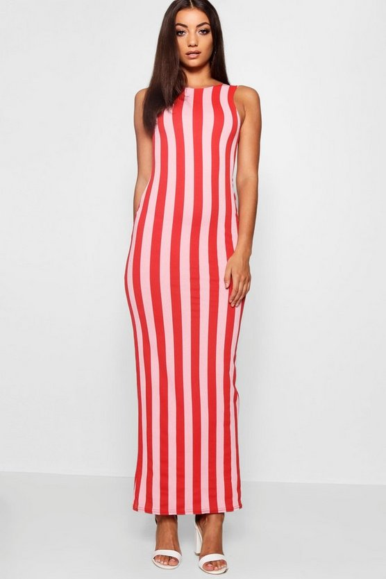 Tall Scoop Back Striped Jersey Maxi Dress