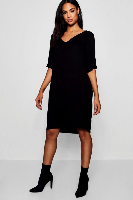 Womens Black Tall Turn Cuff Oversized T-Shirt Dress