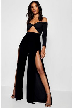 Womens Black Tall Split Leg Slinky Wide Leg Pants
