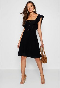 Womens Black Tall Horn Button Detail Skater Dress