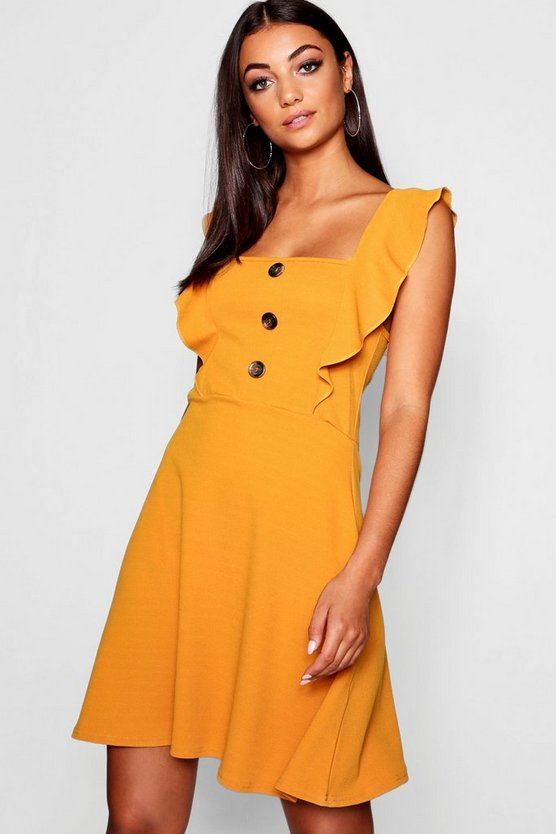 Womens Mustard Tall Horn Button Detail Skater Dress