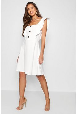 Womens White Tall Horn Button Detail Skater Dress