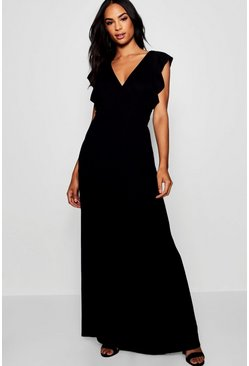 Womens Black Tall Angel Sleeve Maxi Dress