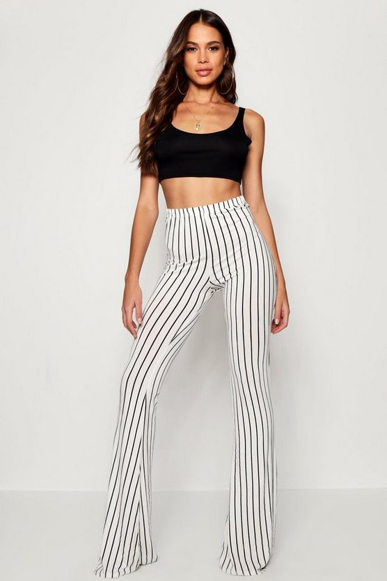 Womens White Tall Pinstripe Flares