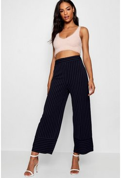 Womens Tall Contrast Cuff Pinstripe Trousers