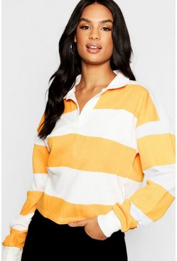 Womens Mustard Tall Stripe Boxy Rugby Crop Top