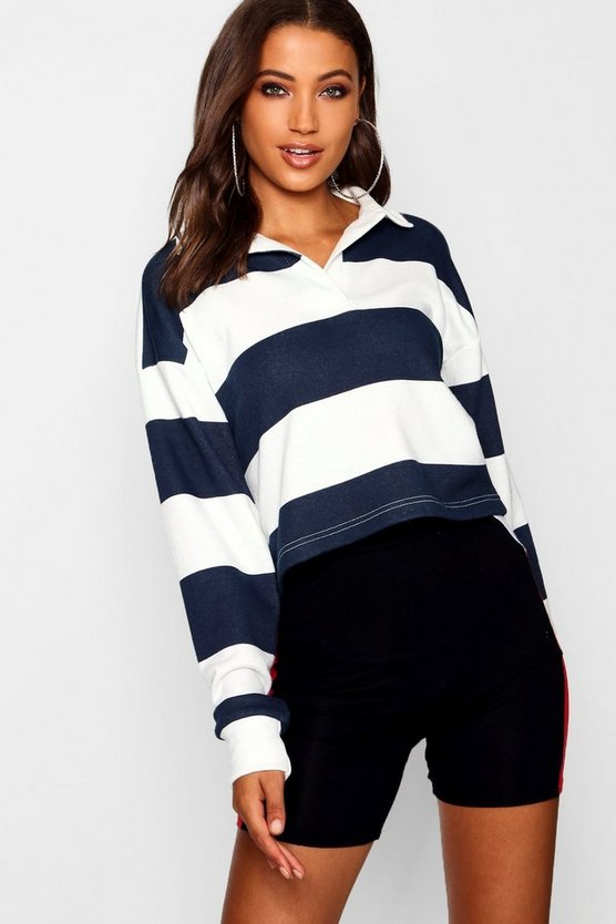Womens Navy Tall Stripe Boxy Rugby Crop Top