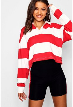 Womens Red Tall Stripe Boxy Rugby Crop Top
