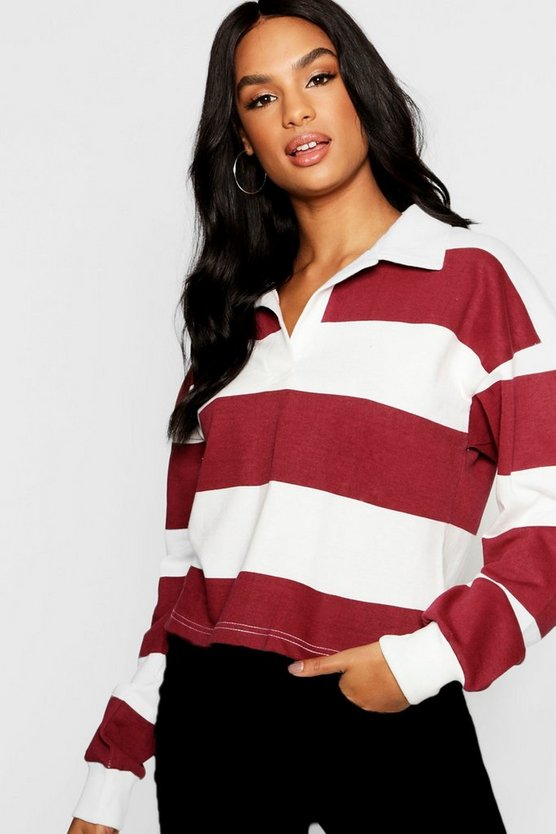 Tall Stripe Boxy Rugby Crop Top
