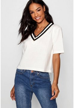Womens Cream Tall Sports Rib V Neck Sweat