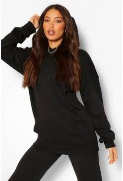 Womens Black Tall Solid Oversized Hoody