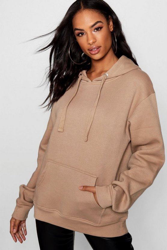Womens Camel Tall Solid Oversized Hoody