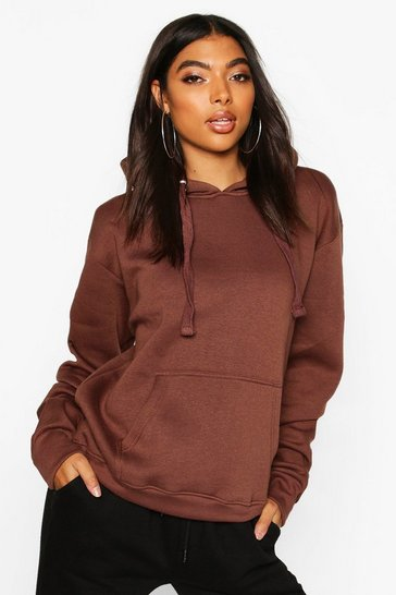 Womens Chocolate Tall Solid Oversized Hoody
