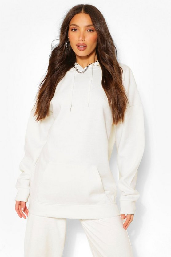 Womens White Tall Solid Oversized Hoody
