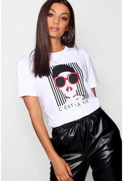 Womens White Tall French Slogan Face Print T-Shirt