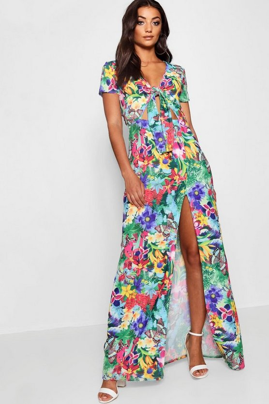 Blue Tall Floral Print Tie Front Maxi Dress
