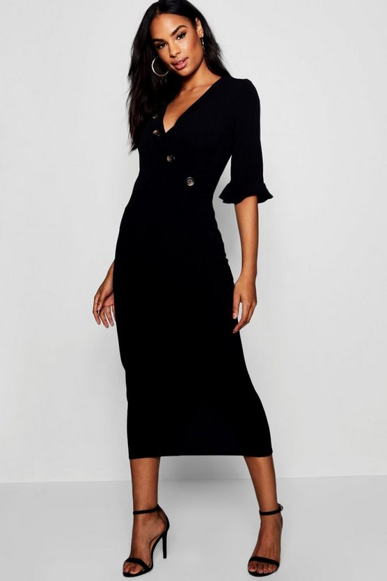 Womens Tall Horn Button Off The Shoulder Wrap Midi Dress