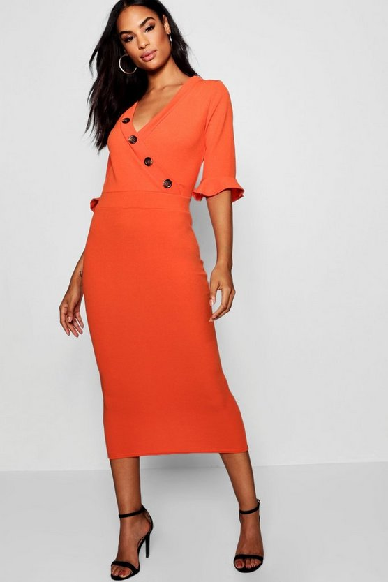Womens Orange Tall Horn Button Off The Shoulder Wrap Midi Dress