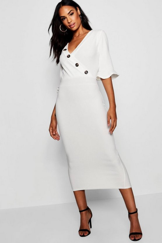 Tall Horn Button Off The Shoulder Wrap Midi Dress