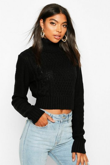 Womens Black Tall Roll Neck Cable Knit Jumper