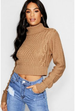 Womens Camel Tall Roll Neck Cable Knit Sweater