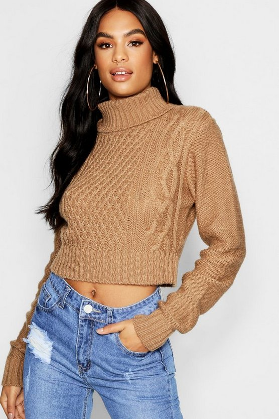 Womens Camel Tall Roll Neck Cable Knit Jumper