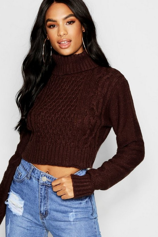 Tall Roll Neck Cable Knit Jumper