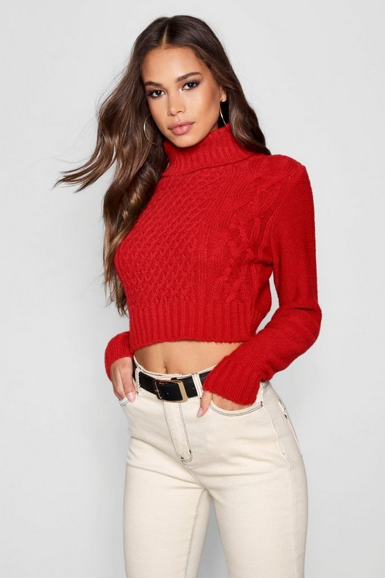 Red Tall Roll Neck Cable Knit Sweater
