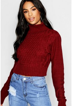 Womens Wine Tall Roll Neck Cable Knit Jumper