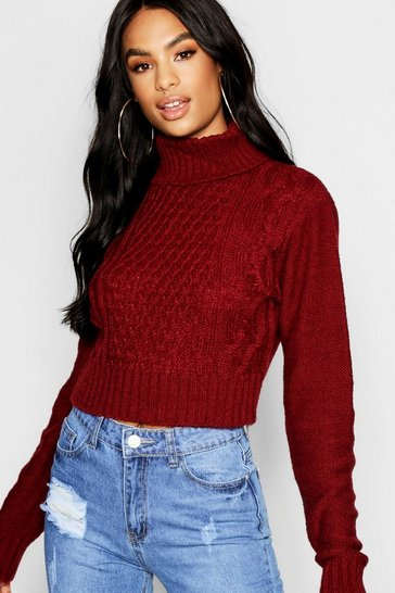 Wine Tall Roll Neck Cable Knit Jumper