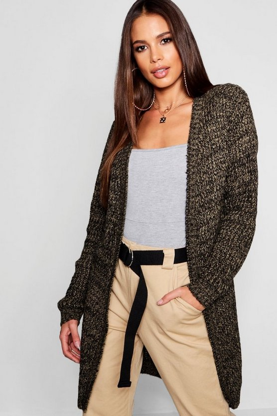Tall Marl Knit Edge To Edge Cardigan