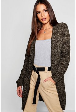 Womens Khaki Tall Marl Knit Edge To Edge Cardigan