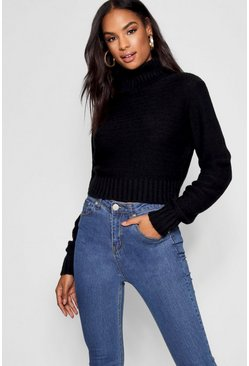 Black Tall Soft Knit Roll Neck Crop Jumper