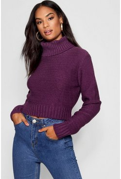 Womens Purple Tall Soft Knit Roll Neck Crop Jumper